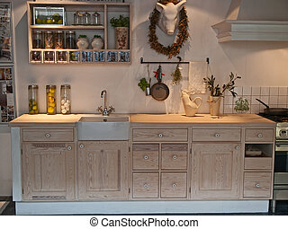 modernos, madeira, clássico, neo, desenho, cozinha, país