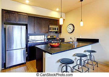 modernos, marrom, cozinha, com, barzinhos, e, stools.