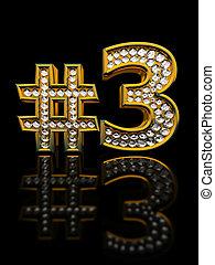 modernos, numeral, três, isolado, ligado, experiência preta