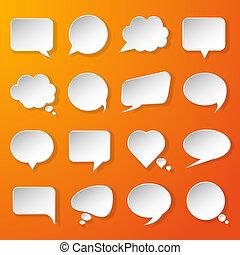 modernos, papel, fala, bolhas, jogo, ligado, fundo alaranjado, para, teia, bandeiras, leiautes, móvel, aplicações, etc., vetorial, eps10, ilustração