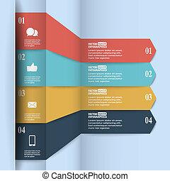 modernos, papel, infographics, em, apartamento, desenho, com, trendy, cores, para, teia, bandeiras, móvel, aplicações, leiautes, etc., vetorial, eps10, ilustração