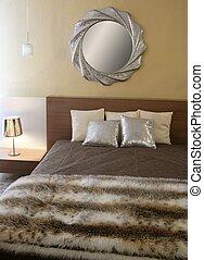 modernos, pele, cobertor, quarto, espelho, fraude, prata