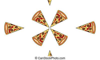 modernos, pizza, branco, experiência., animação, com, canal alfa