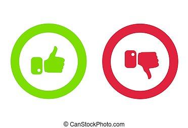 modernos, polegares cima, e, polegares baixo, ícones