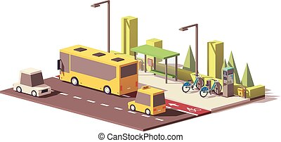 modernos, poly, vetorial, baixo, transporte público