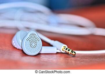 modernos, portátil, fones ouvido, áudio