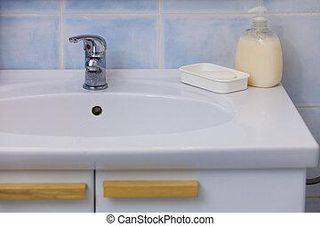 modernos, prata, branca, pia, em, banheiro