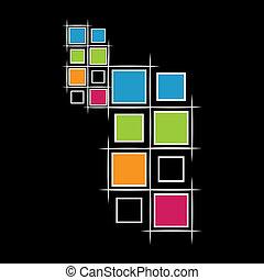 modernos, quadrados, ligado, experiência preta