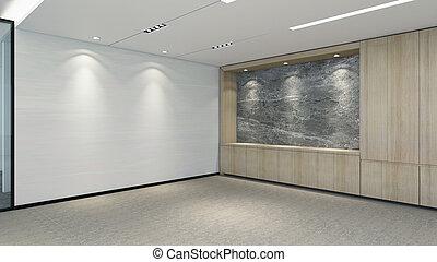 modernos, quarto vazio, 3d, render, projeto interior, escarneça, cima, ilustração