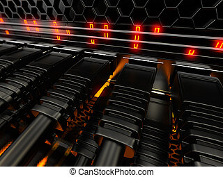 modernos, rede, interruptor, com, cables.