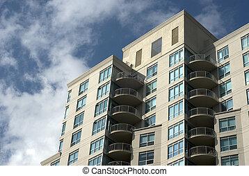 modernos, residencial, predios, exterior.