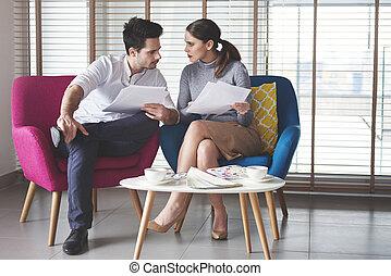 modernos, reunião, coworkers, escritório, tendo
