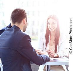 modernos, reunião, escritório negócio, pessoas