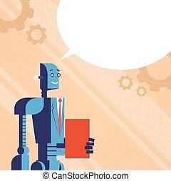modernos, robô, livro, conversa, paleto, ter, bolha, vazio