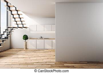 modernos, sótão, copyspace, cozinha