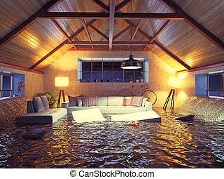 modernos, sótão, interior