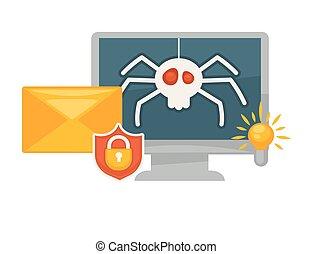 modernos, seguro, antivirus, programa, para, computadores, promocional, bandeira