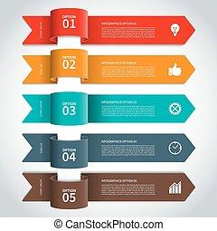 modernos, seta, elementos, infographics