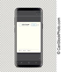 modernos, smartphone, modelo, com, social, mídia, poste, modelo, isolado, branco
