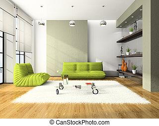 modernos, sofás, verde, interior, branca, tapete, 3d