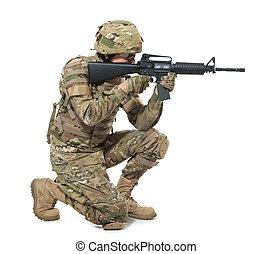 modernos, soldado, com, rifle