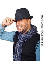 modernos, sujeito, com, chapéu preto