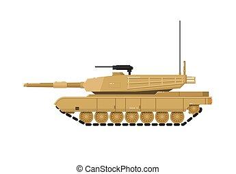 modernos, tanque, isolado, combate, ícone
