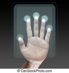 modernos, tecnologia, trabalhando, mão
