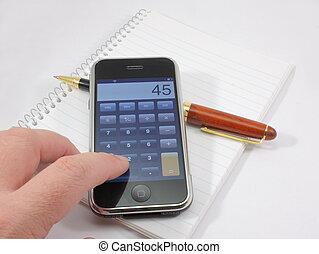 modernos, tela toque, telefone, calculadora