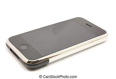 modernos, tela toque, telefone, móvel, dispositivo