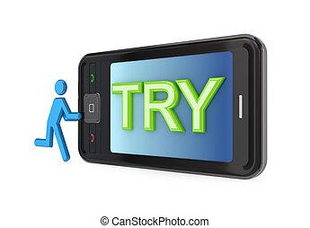 modernos, telefone móvel, com, grande, palavra, try.