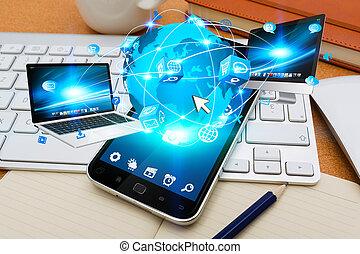 modernos, telefone móvel, conectando, tech, dispositivos