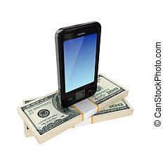modernos, telefone móvel, e, dólar, packs.