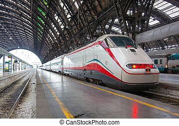 modernos, trem alta velocidade, em, station.