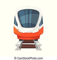 modernos, -, trem, frente, velocidade, vista