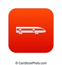 modernos, trem velocidade alto, ícone, digital, vermelho
