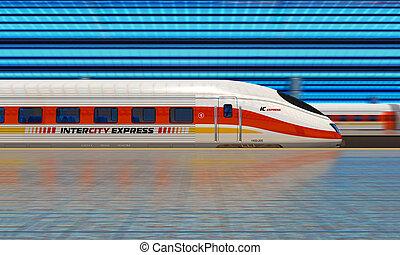 modernos, trem velocidade alto, em, a, estação de comboios