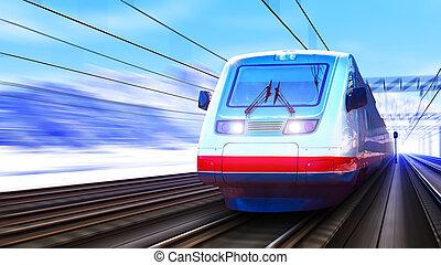 modernos, trem velocidade alto, em, inverno