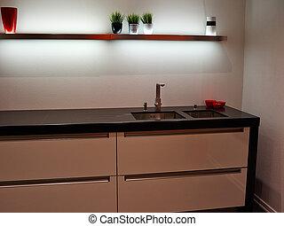 modernos, trendy, desenho, branca, madeira, cozinha