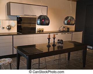 modernos, trendy, desenho, preto branco, cozinha