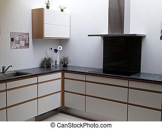 modernos, trendy, limpo, desenho, madeira, cozinha
