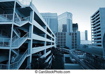 modernos, urbano, arquitetura, em, las vegas, nevada, usa.