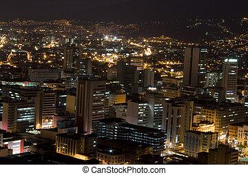modernos, urbano, cidade, à noite