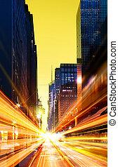 modernos, urbano, cidade, à noite, tempo