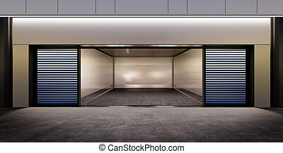 modernos, vazio, estacionamento