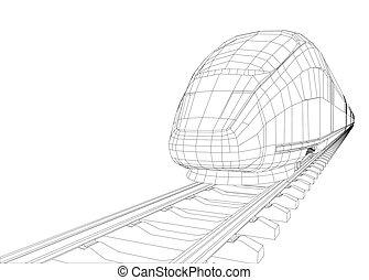 modernos, velocidade, trem, silueta