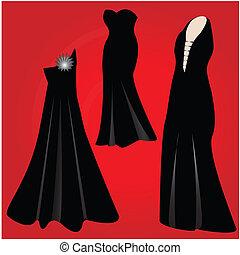 modernos, vestidos, formal