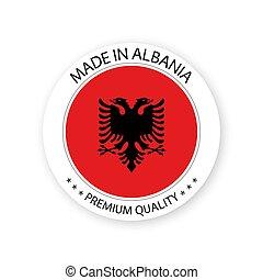 modernos, vetorial, feito, em, albânia, etiqueta, isolado, branco, fundo, simples, adesivo, com, albanês, cores, prêmio, qualidade, selo, desenho, bandeira, de, albânia