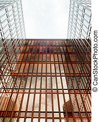 modernos, vidro, negócio, arranha-céu, conceitos, de, financeiro, economics.