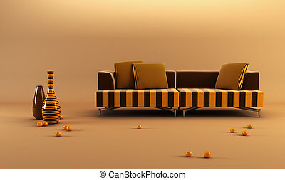modernstriped couch - 3d rendering scene with stylish...